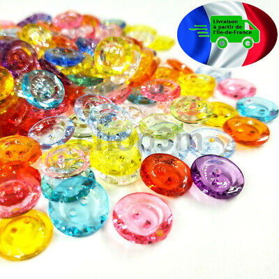 Lot de 6 BOUTONS en plastique transparent INCLUSIONS de PAILLE 18mm button