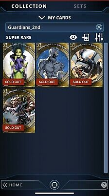 TOPPS MARVEL COLLECT Super Rare Guardians Of The Galaxy 2nd Print Set of Four!