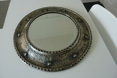 Antique Arts And Crafts Pewter Framed Mirror