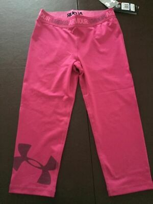 NWT Girls Youth Under Armour Heatgear Armour Graphic Capri  L Large 1328007 $35