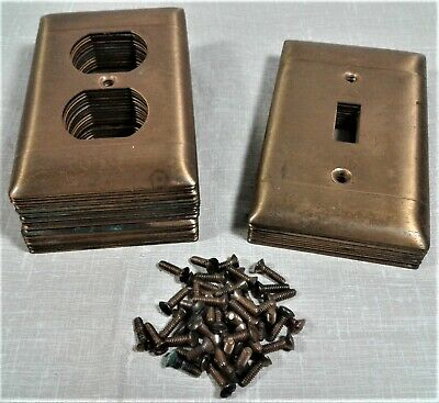 Vintage Lot/30 Outlet Covers Switch Plates Brass w/Bronze Finish Salvage Parts