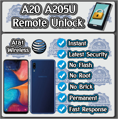 Remote Unlock Service Samsung A20 A205U AT&T Real Instant!