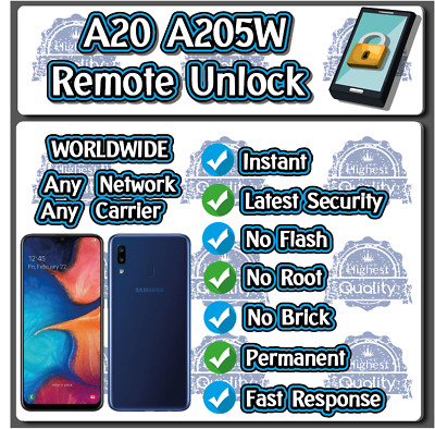 Remote Unlock Service Samsung A20 A205W Real Instant!