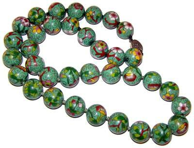 Antique Chinese Export Gold over Sterling Jade Green Cloisonne Bead Necklace