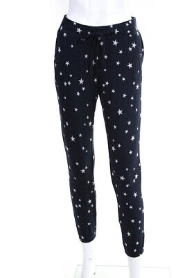BB Dakota Womens Drawstring Cropped Star Print Sweatpants Navy Blue Size Small
