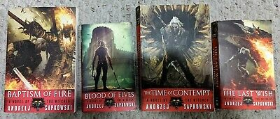 Andrzej Sapkowski = THE WITCHER = 4 paperbacks - Baptism of Fire Blood of Elves