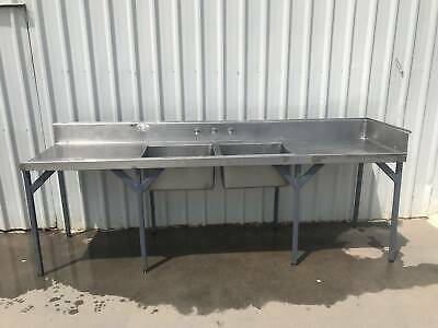 Stainless steel bench inc double sink