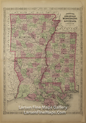 1866 Johnson's Arkansas, Mississippi, and Louisiana, Rare Atlas Map