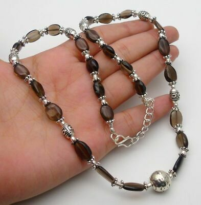 Smoky Quartz Gemstone Jewellery 925 Sterling Silver Hand Made Necklace 19inch