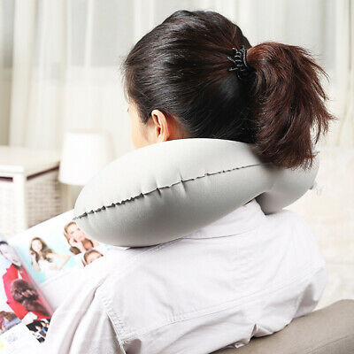 U Shaped Automatic Office Airplane Neck Inflatable Nap Travel Pillow Headrest