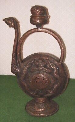 ANTIQUE CHINESE COPPER INCENSE BURNER DRAGONS & MYTHICAL BEASTS TIBET circa 1890