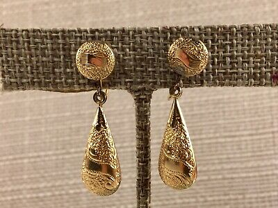 Antique Turn Of The Century Gold Filled Repousse Drop Dangle Screw Back Earrings