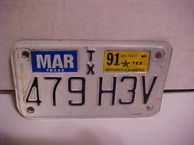 License Plate - Motorcycle - Texas - 479-H3V - Tag 1991 MOTORCYCLE/MOPED