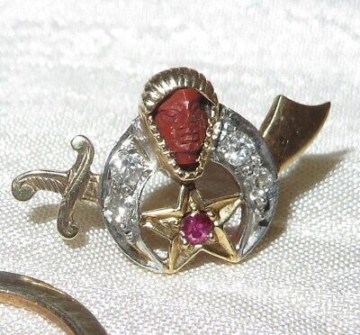 Vintage 14K Gold Carved Coral Face Diamonds Ruby Masonic Shriners Pin