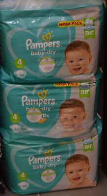 LOT DE 258 Couches Pampers Baby Dry Taille 4 (09 - 14) kg