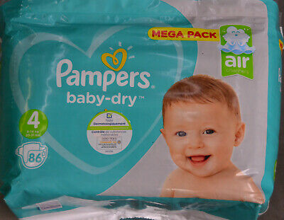 LOT DE 86 Couches Pampers Baby Dry Taille 4 (09 - 14) kg