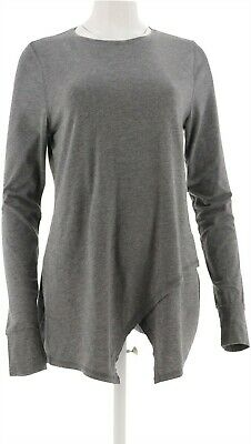 AnyBody Loungewear Cozy Knit Crossover Top Black Weekend 1X NEW A292757