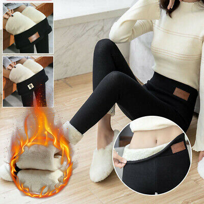 Lady Slim Fit Thermal Pants Solid High Waist Casual Trousers Thick Warm Leggings