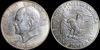 """1974-S United States US Eisenhower $1 Dollar 40% Silver Coin """"Blue Ike"""" No Paper"""