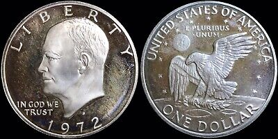 """1972-S United States US Eisenhower $1 Dollar 40% Silver Coin Proof """"Brown Ike"""""""