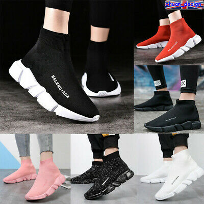 Womens Knit Speed Sock Runner Shoes High Top Mens Casual Trainers Sneakers Flat