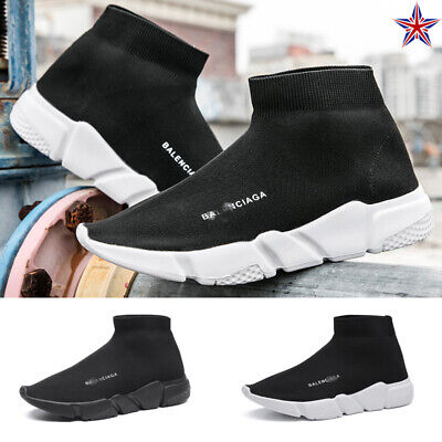 Womens Mens Sock Shoes Trainers Comfort Ankle High Stretch Knit Runners Sneakers