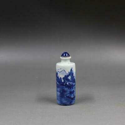 Chinese ancient antique hand make Blue and White Landscape Snuff Bottle