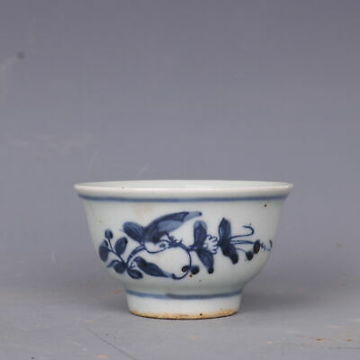 """Fine Old Chinese Porcelain guangxu Hand made Blue white flower bird Teacup 2.8"""""""