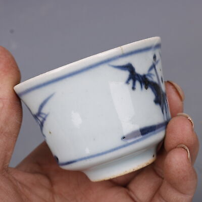 """Chinese Fine Antique Porcelain guangxu Hand made Blue white Bamboo Teacup 2.7"""""""