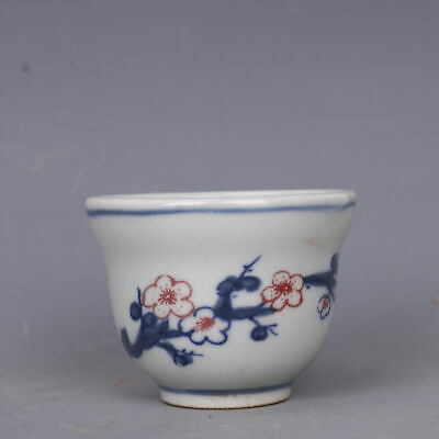 """Old Chinese Porcelain guangxu Blue white Underglaze red Plum blossom Teacup 2.5"""""""