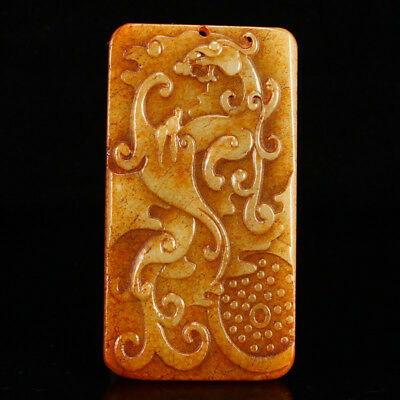 China 100% Natural handcarved hetian old jade dragon beast cameo Pendant plate