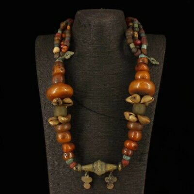 China old Tibet Beeswax copper many gem Necklace Pendant chain S425