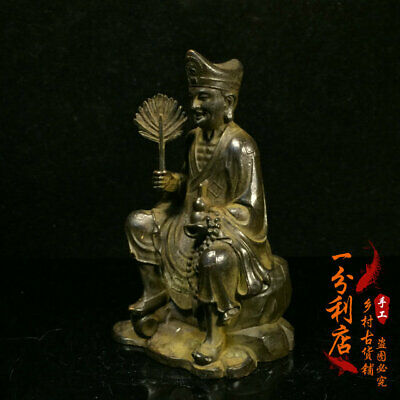 Exquisite Chinese handmade antiques Pure copper Mad monk  statue v51