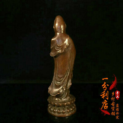 Exquisite Chinese handmade antiques Pure copper Guanyin statue v60