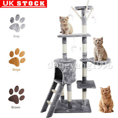 Cat Playing Tree Sisal Scratching Post Kitten Scratcher Nest High Tower Bed Toy