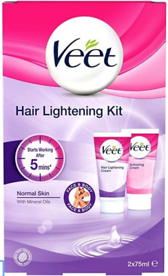 Veet Hair Lightening Cream Kit for Face and Body, 2 x 75 ml - NEW Free Delivery