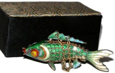 Chinese Gilt Silver Articulated Green & Blue Cloisonne Koi Fish Pendant w/ Box