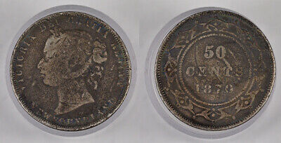 1870 Canada New Foundland Queen Victoria 50 Cents Silver Coin ! Awesome !
