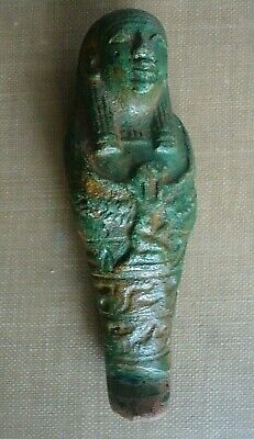 "Nice 2.75"" Egyptian Ancient Faience Ushabti Falcon God Horus,Glyphs 1648-1455 BC"