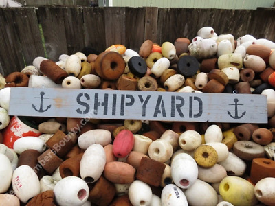 48 Inch Wood Hand Painted Shipyard & Anchor Sign Nautical Seafood (Xws503)