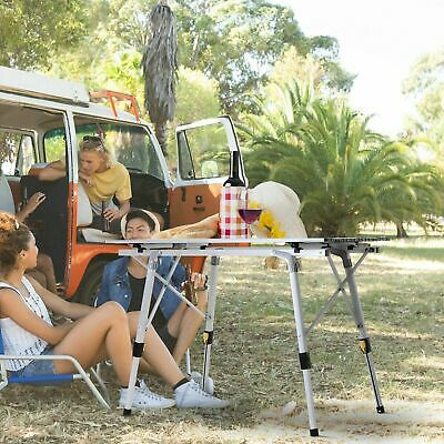 Adjustable Leg Outdoor Table Picnic Portable Foldable Camping BBQ Party Trestle