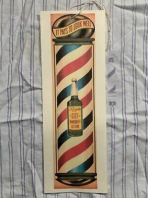 Rare Vintage 1950's Barbershop RAYETTE Window Sign Hair Tonic PAYS TO LOOK WELL