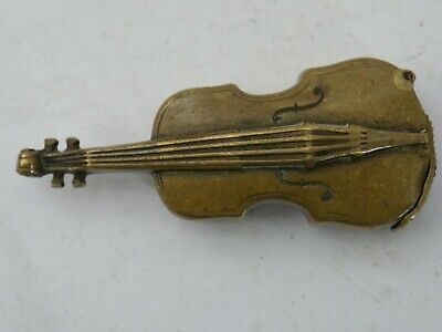 Very Old Novelty Violin Shaped Vesta Case - Rare - L@@K