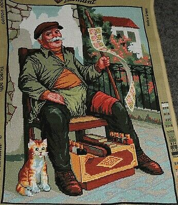 Hand Embroidered Tapestry Complete European Shoe Shine Man Ginger Cat Rich Color
