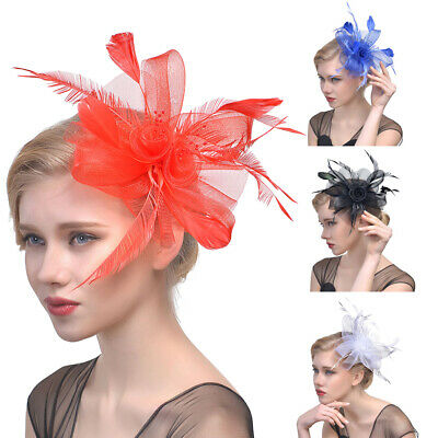 Am_ Flower Feather Bead Corsage Hair Clip Fascinator Hairband Dance Headwear Str