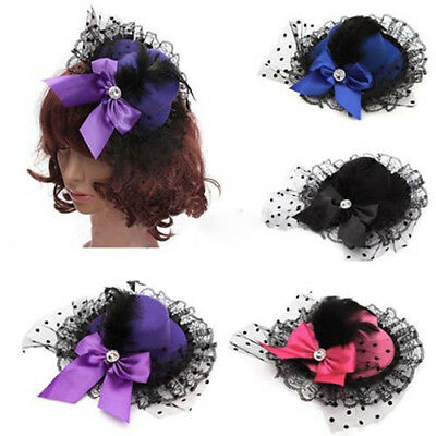 AM_ EG_ Lady Mini Top Hat Cap Bowknot Lace Fascinator Hair Clip Costume Accessor