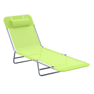 Outsunny Adjustable Sun Bed Garden Lounger Recliner Relaxing Camping Green