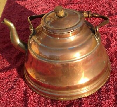 Antique Copper & Brass Teapot/Kettle with Wooden Handle, Marked on the Base