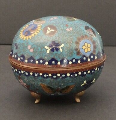 Chinese Cloisonné Enamel Footed Egg Trinket Box With Butterflies & Flowers