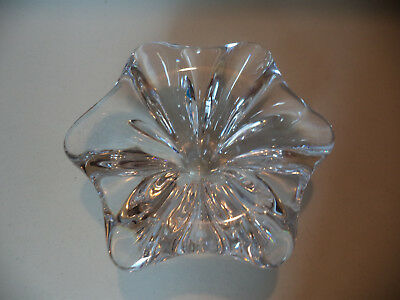 Modern Mid Century Val St Lambert French Crystal Art Glass Abstract Flower Bowl!